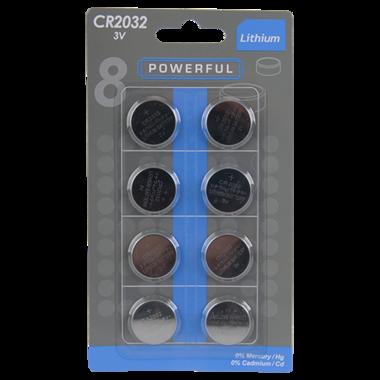 Knoopcelbatterijen CR2032 8 stuks